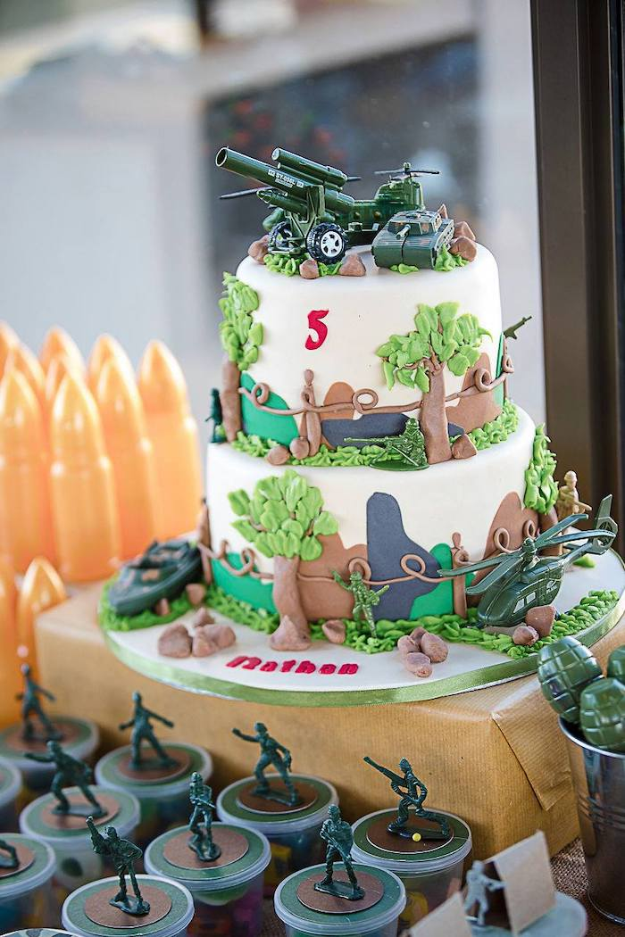 Army Themed Birthday Cake from an Army Military Birthday Party on Kara's Party Ideas | KarasPartyIdeas.com (25)