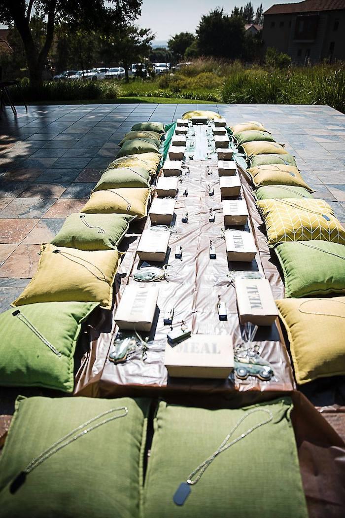 Army-inspired Kid Table from an Army Military Birthday Party on Kara's Party Ideas | KarasPartyIdeas.com (20)