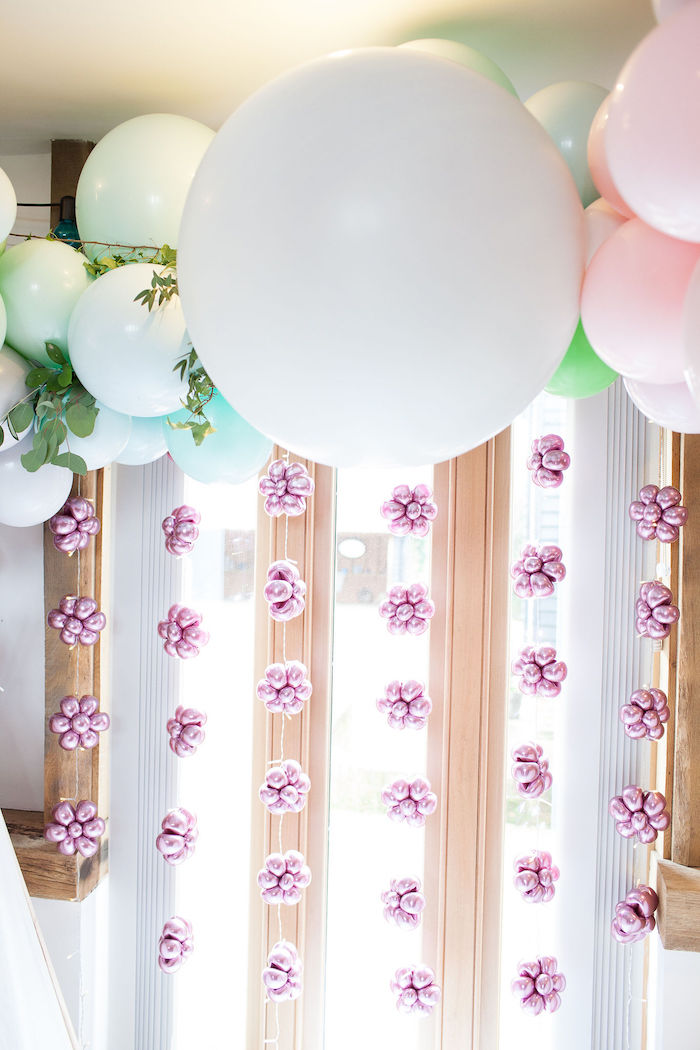 Balloon Flower Garlands from a Boho Woodland Midsummer Night Dreams Birthday Party on Kara's Party Ideas | KarasPartyIdeas.com (33)