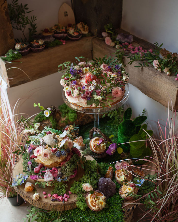 Woodland Dessert Table from a Boho Woodland Midsummer Night Dreams Birthday Party on Kara's Party Ideas | KarasPartyIdeas.com (48)