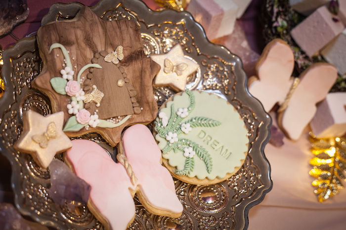 Enchanted Woodland Cookies from a Boho Woodland Midsummer Night Dreams Birthday Party on Kara's Party Ideas | KarasPartyIdeas.com (27)
