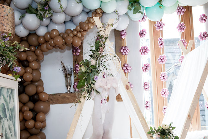 Dreamcatcher-adorned Tent from a Boho Woodland Midsummer Night Dreams Birthday Party on Kara's Party Ideas | KarasPartyIdeas.com (15)