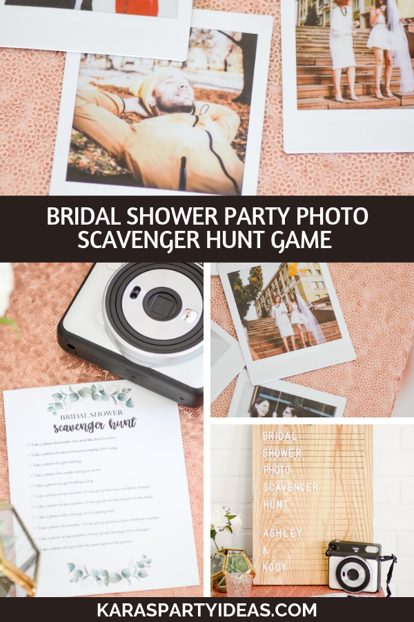 Bridal shower or bachelorette party photo scavenger hunt game via Kara's Party Ideas - KarasPartyIdeas.com