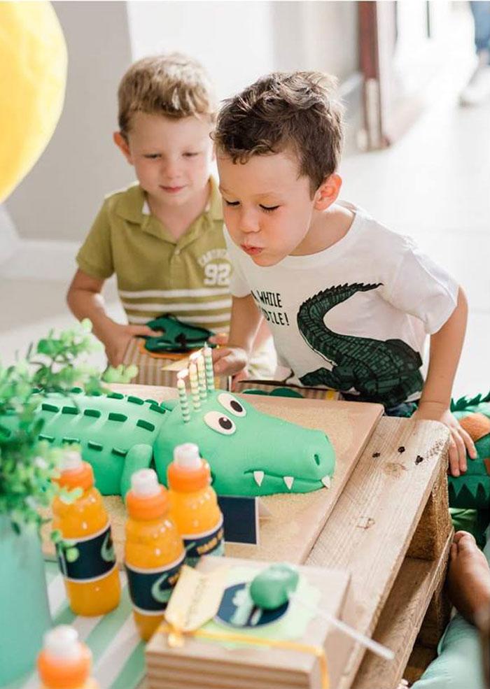 Crocodile Cake from a Chomp Chomp Crocodile Birthday Party on Kara's Party Ideas | KarasPartyIdeas.com (10)