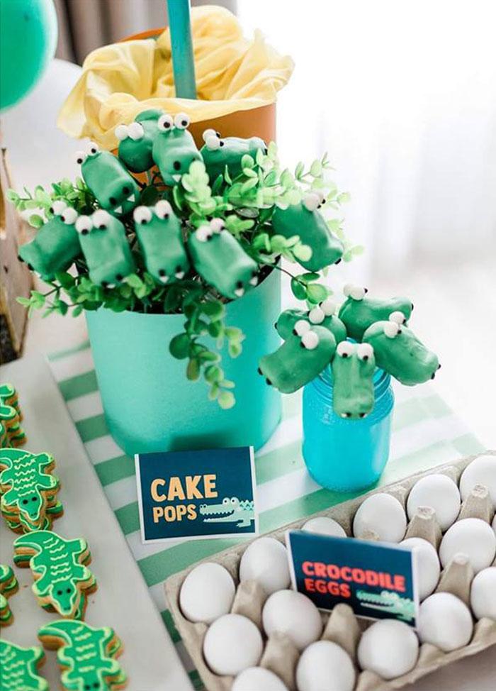 Crocodile Cake Pops from a Chomp Chomp Crocodile Birthday Party on Kara's Party Ideas | KarasPartyIdeas.com (8)