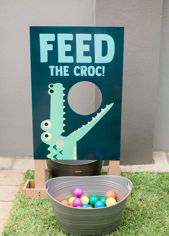 Feed The Croc Ball Toss Game Board from a Chomp Chomp Crocodile Birthday Party on Kara's Party Ideas | KarasPartyIdeas.com (7)