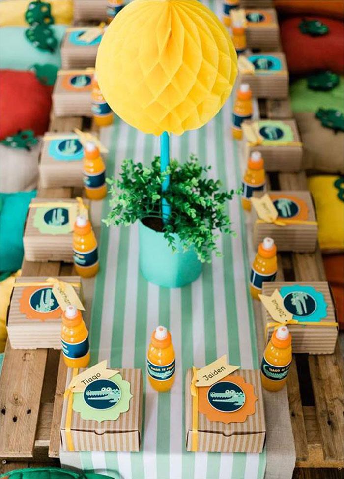 Crocodile-inspired Kid Table from a Chomp Chomp Crocodile Birthday Party on Kara's Party Ideas | KarasPartyIdeas.com (6)