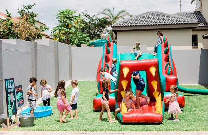 Crocodile Bounce House from a Chomp Chomp Crocodile Birthday Party on Kara's Party Ideas | KarasPartyIdeas.com (19)