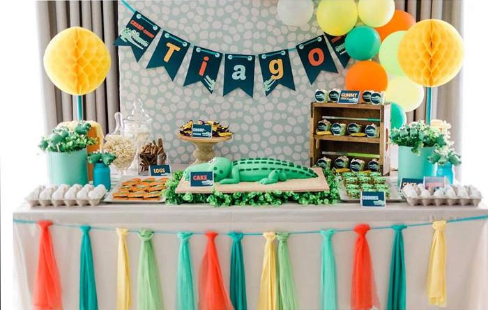 Crocodile Themed Dessert Table from a Chomp Chomp Crocodile Birthday Party on Kara's Party Ideas | KarasPartyIdeas.com (16)