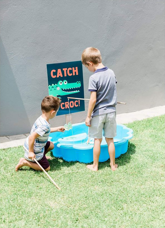 Catch a Croc Game from a Chomp Chomp Crocodile Birthday Party on Kara's Party Ideas | KarasPartyIdeas.com (14)