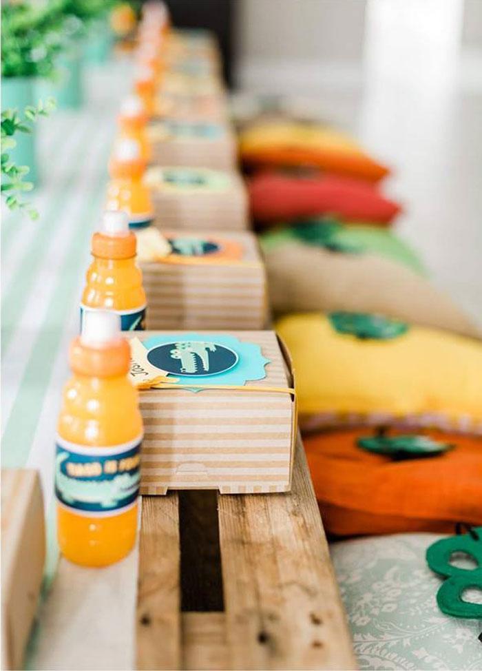 Crocodile Lunchbox Table Settings + Kid Table from a Chomp Chomp Crocodile Birthday Party on Kara's Party Ideas | KarasPartyIdeas.com (13)