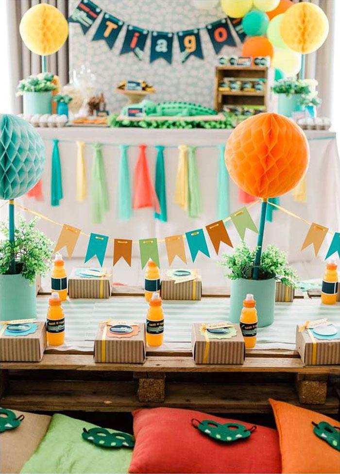 Crocodile-inspired Kid Table from a Chomp Chomp Crocodile Birthday Party on Kara's Party Ideas | KarasPartyIdeas.com (11)