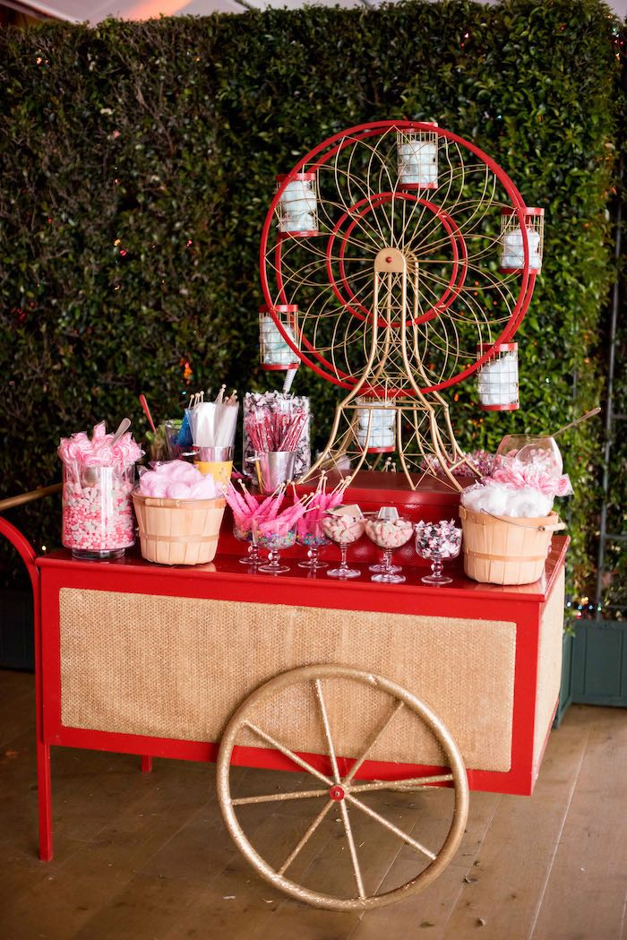 Circus Cart Candy Buffet from a Circus Themed Bat Mitzvah on Kara's Party Ideas | KarasPartyIdeas.com (13)