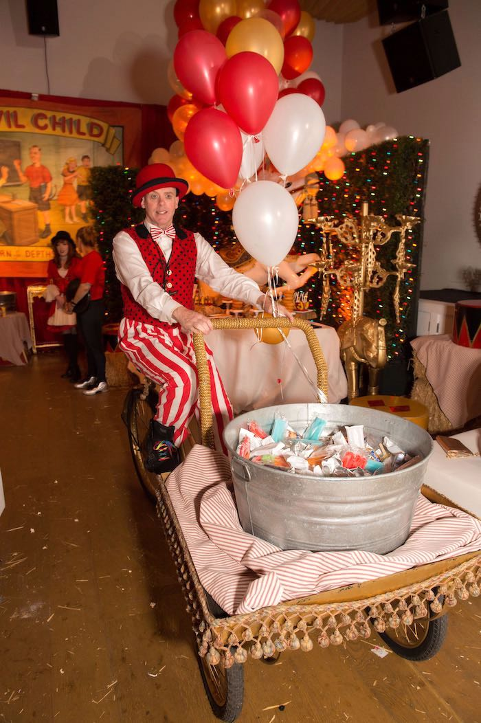 Cart from a Circus Themed Bat Mitzvah on Kara's Party Ideas | KarasPartyIdeas.com (8)