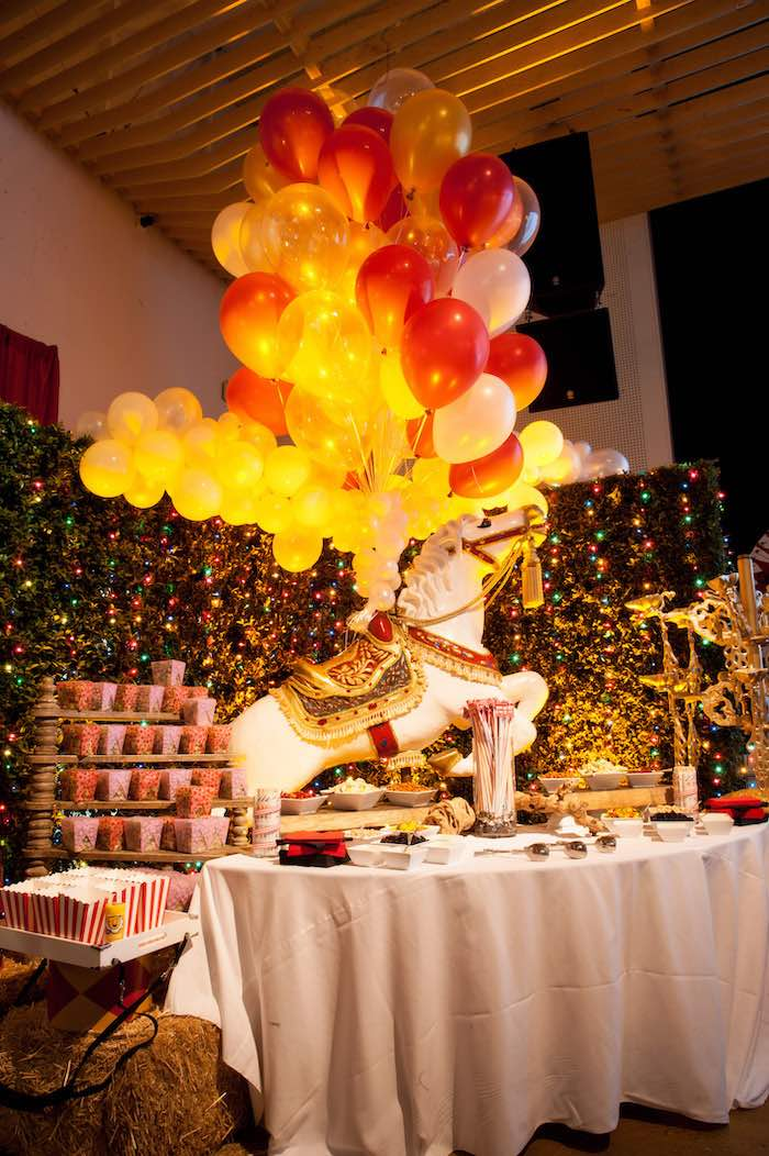 Circus Horse Food Table from a Circus Themed Bat Mitzvah on Kara's Party Ideas | KarasPartyIdeas.com (24)