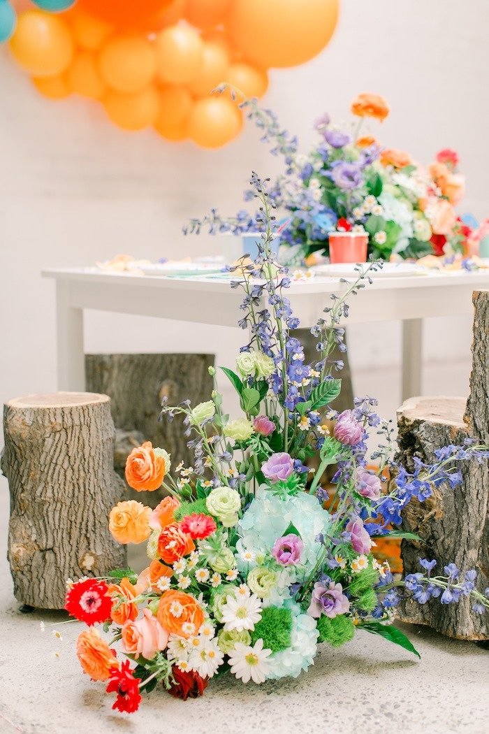 Colorful Floral Arrangement from a Colorful Dragon Birthday Party on Kara's Party Ideas | KarasPartyIdeas.com (19)