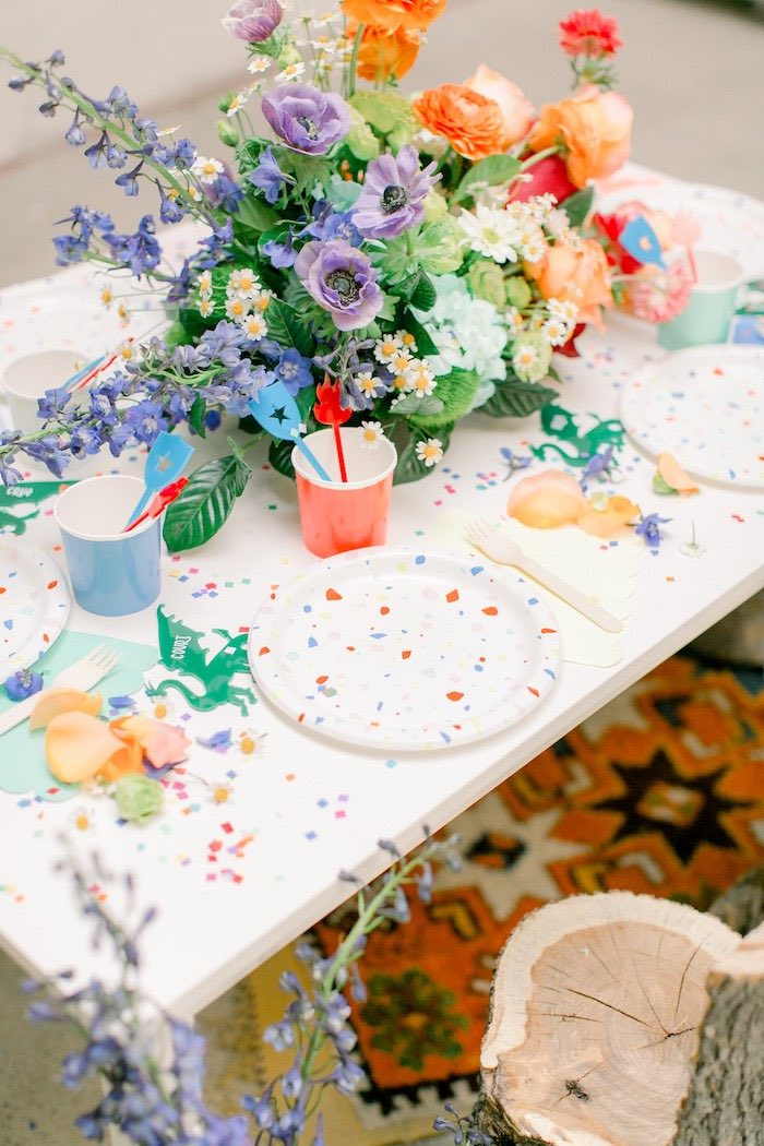 Table Setting from a Colorful Dragon Birthday Party on Kara's Party Ideas | KarasPartyIdeas.com (18)