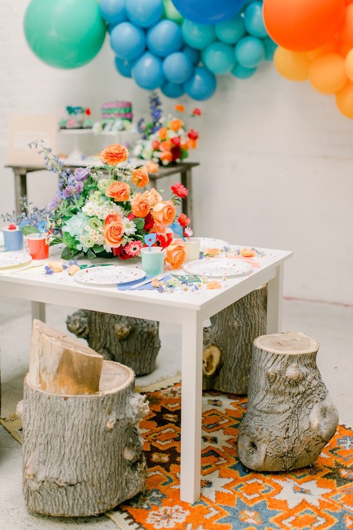 Log Seated Kid Guest Table from a Colorful Dragon Birthday Party on Kara's Party Ideas | KarasPartyIdeas.com (17)