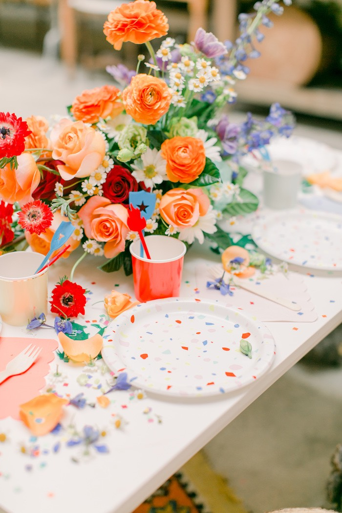 Table Setting from a Colorful Dragon Birthday Party on Kara's Party Ideas | KarasPartyIdeas.com (16)