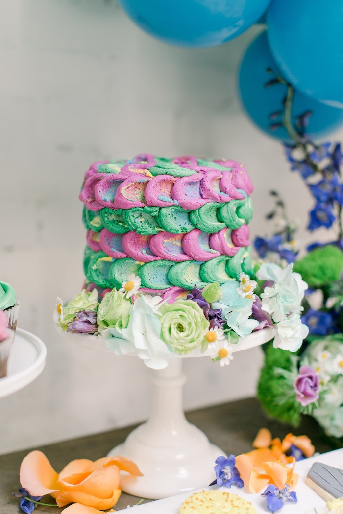 Dragon Scale Cake from a Colorful Dragon Birthday Party on Kara's Party Ideas | KarasPartyIdeas.com (13)