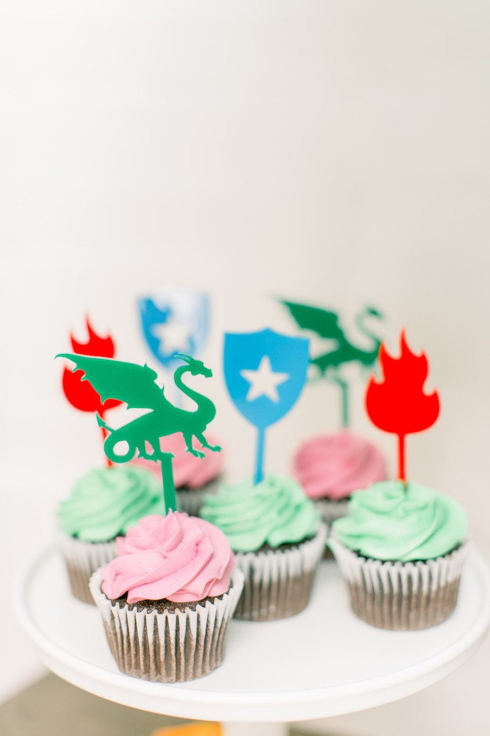Dragon Cupcakes from a Colorful Dragon Birthday Party on Kara's Party Ideas | KarasPartyIdeas.com (12)