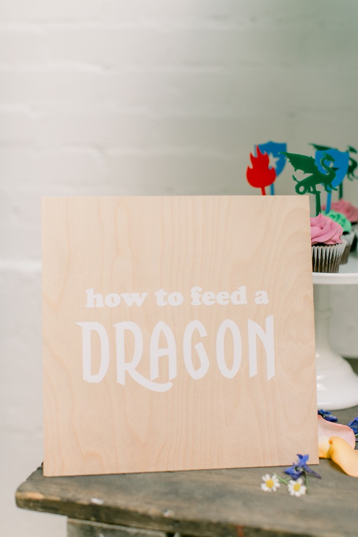 How to feed a Dragon Wood Sign from a Colorful Dragon Birthday Party on Kara's Party Ideas | KarasPartyIdeas.com (10)