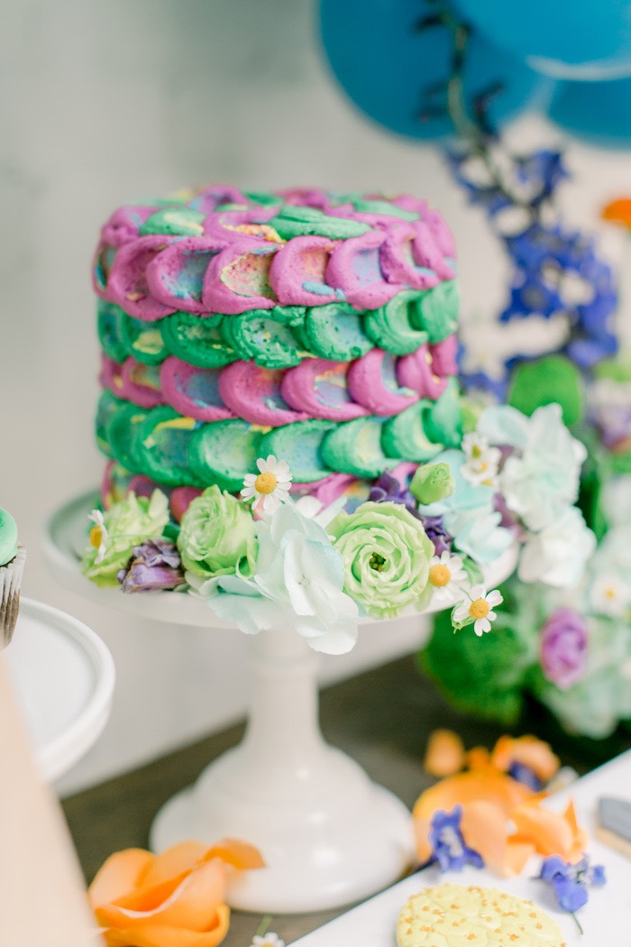Dragon Scale Cake from a Colorful Dragon Birthday Party on Kara's Party Ideas | KarasPartyIdeas.com (9)