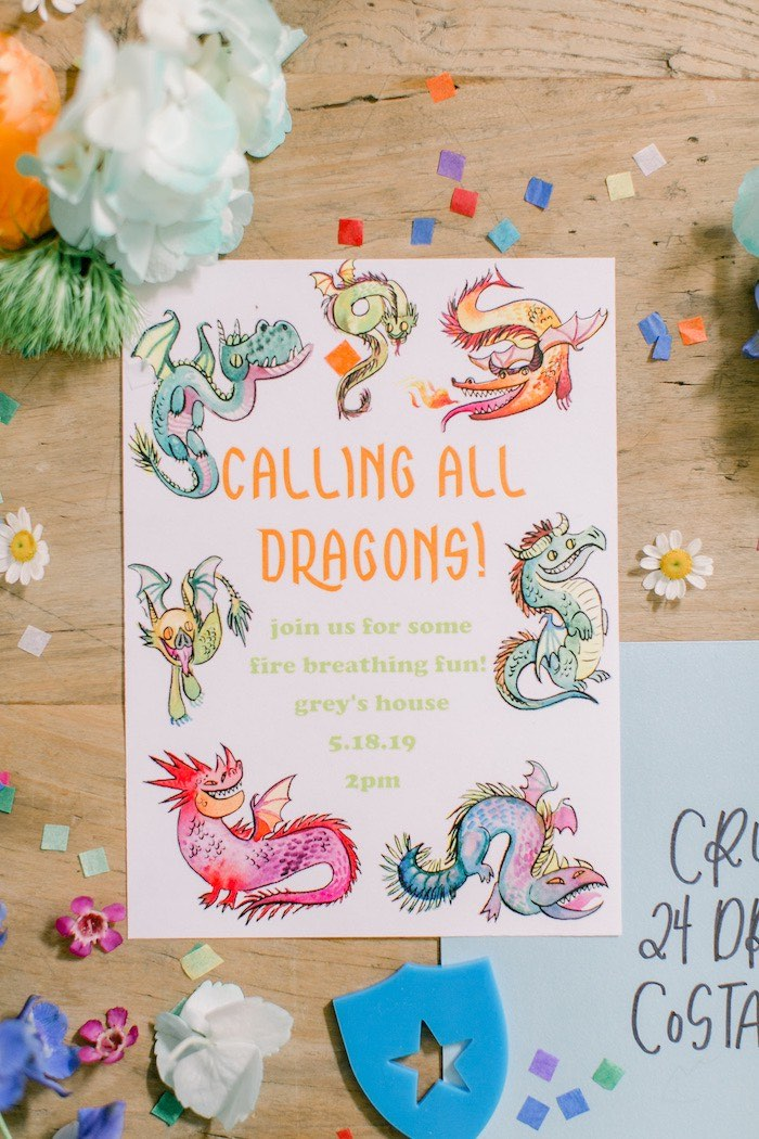 Dragon Party Invite from a Colorful Dragon Birthday Party on Kara's Party Ideas | KarasPartyIdeas.com (32)