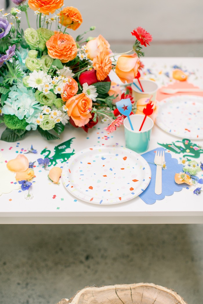 Colorful Confetti Table Setting from a Colorful Dragon Birthday Party on Kara's Party Ideas | KarasPartyIdeas.com (31)