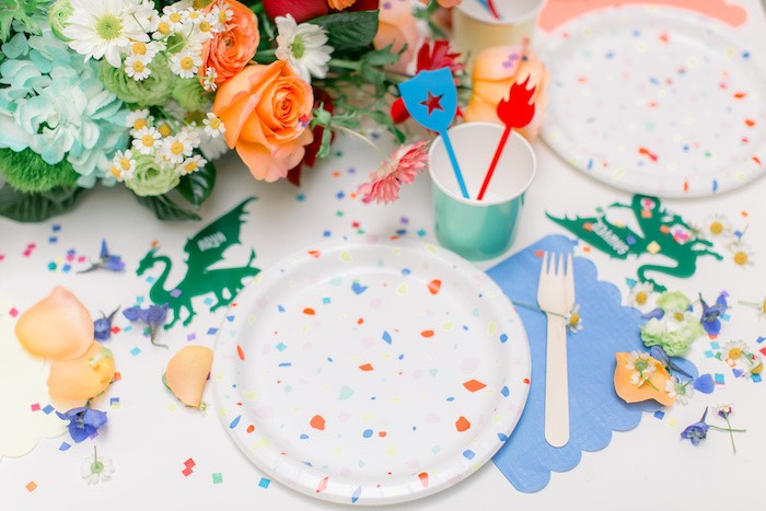 Colorful Confetti Table Setting from a Colorful Dragon Birthday Party on Kara's Party Ideas | KarasPartyIdeas.com (30)