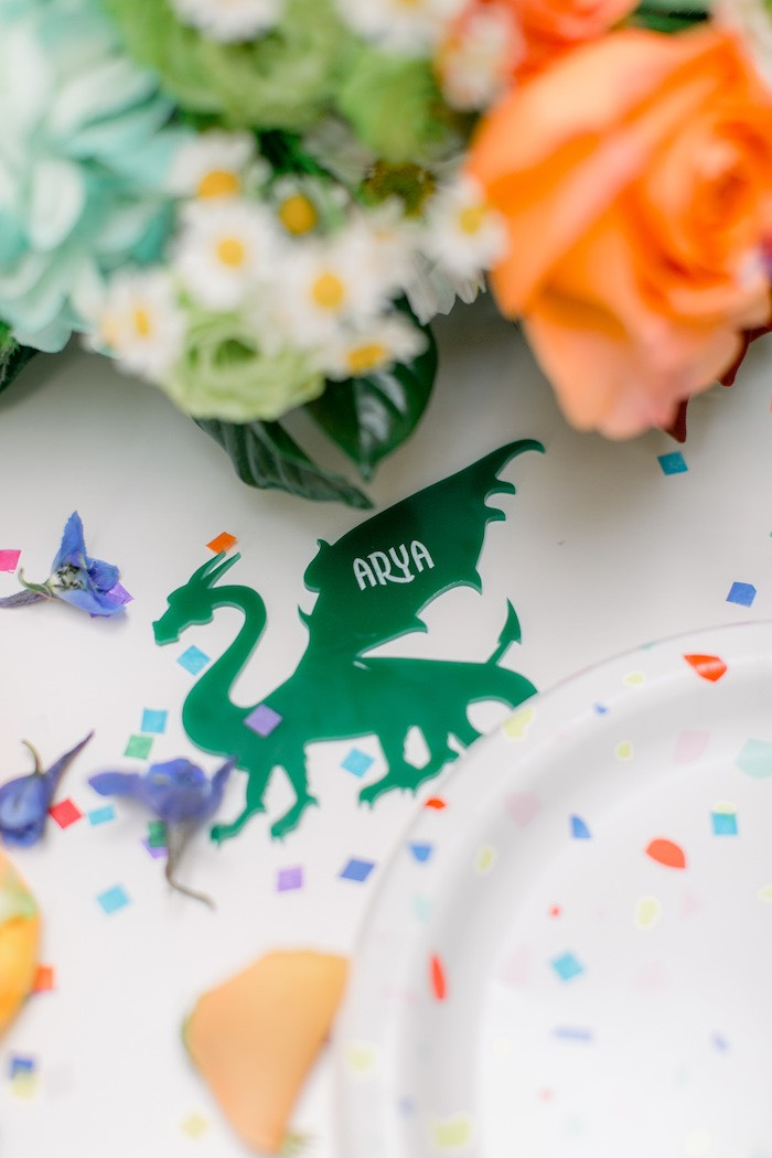 Acrylic Dragon Place Card from a Colorful Dragon Birthday Party on Kara's Party Ideas | KarasPartyIdeas.com (29)