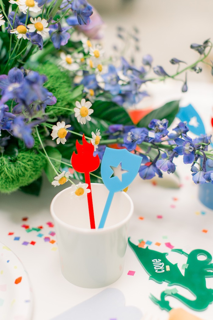 Dragon-inspired Drink Stir Sticks from a Colorful Dragon Birthday Party on Kara's Party Ideas | KarasPartyIdeas.com (28)