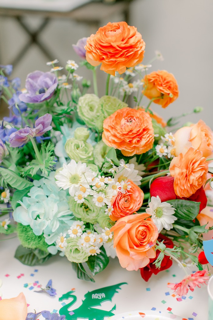 Colorful Blooms from a Colorful Dragon Birthday Party on Kara's Party Ideas | KarasPartyIdeas.com (27)