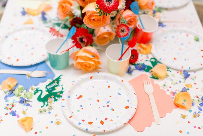 Table Setting from a Colorful Dragon Birthday Party on Kara's Party Ideas | KarasPartyIdeas.com (25)