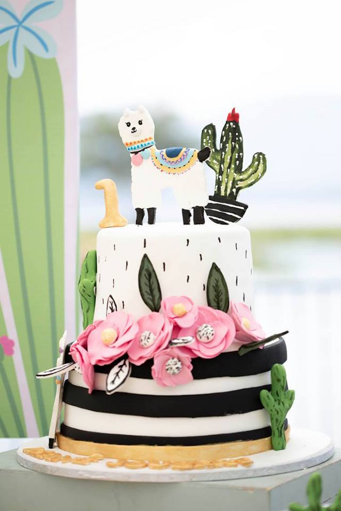 Llama Cake from a Colorful Llama and Cactus Birthday Party on Kara's Party Ideas | KarasPartyIdeas.com (35)