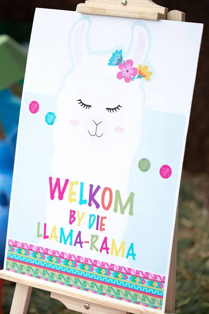 "Llama ""Welkom"" Sign from a Colorful Llama and Cactus Birthday Party on Kara's Party Ideas 