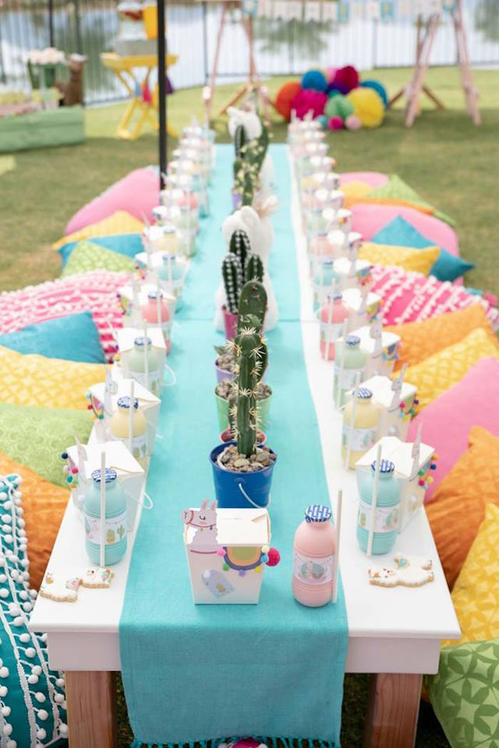 Colorful Party Table from a Colorful Llama and Cactus Birthday Party on Kara's Party Ideas | KarasPartyIdeas.com (33)