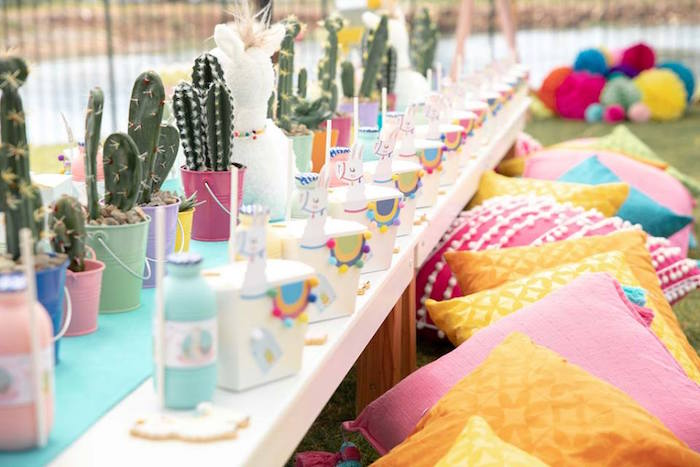 Colorful Llama and Cactus Guest Table from a Colorful Llama and Cactus Birthday Party on Kara's Party Ideas | KarasPartyIdeas.com (31)