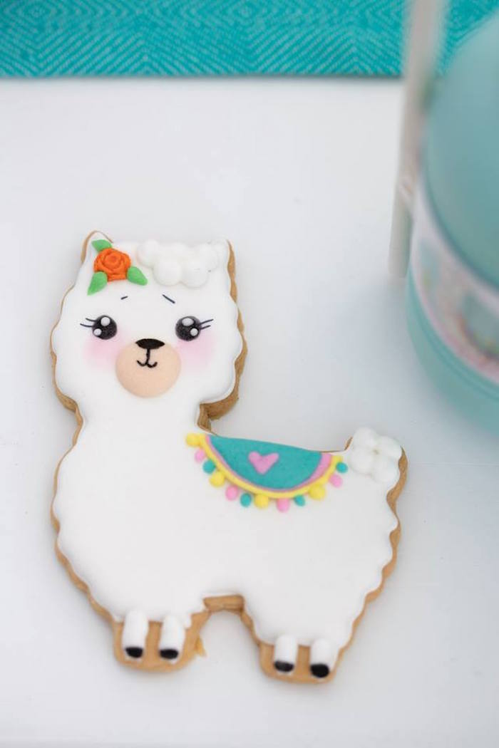 Llama Cookie from a Colorful Llama and Cactus Birthday Party on Kara's Party Ideas | KarasPartyIdeas.com (29)