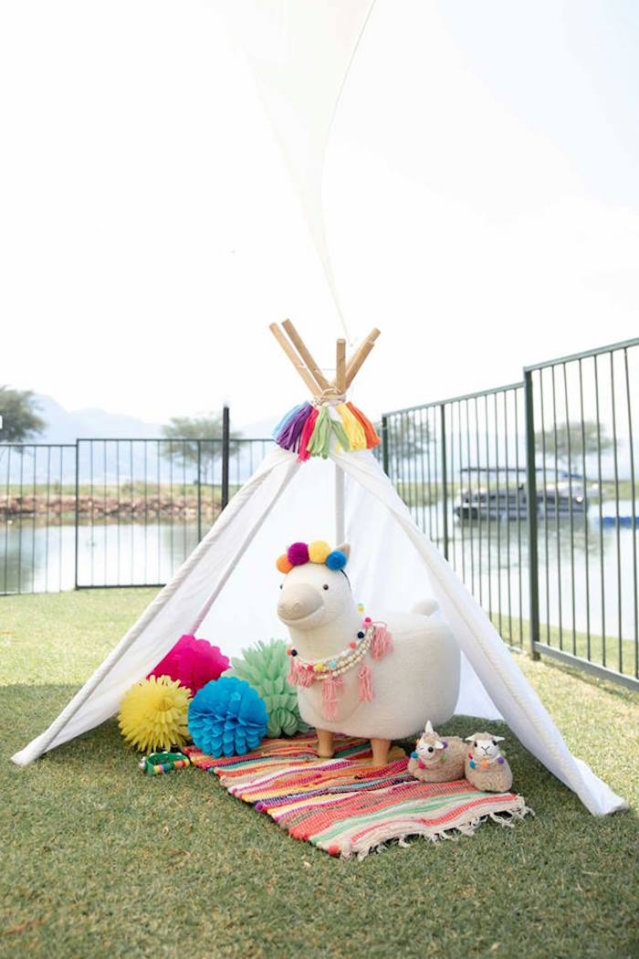 Llama Tent Lounge from a Colorful Llama and Cactus Birthday Party on Kara's Party Ideas | KarasPartyIdeas.com (27)