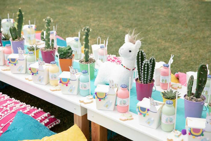 Cactus + Llama Themed Guest Table from a Colorful Llama and Cactus Birthday Party on Kara's Party Ideas | KarasPartyIdeas.com (25)