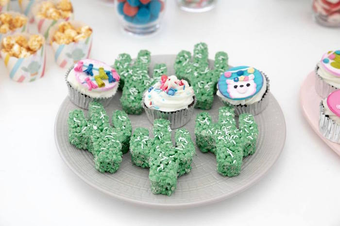 Cactus-shaped Rice Krispie Treats from a Colorful Llama and Cactus Birthday Party on Kara's Party Ideas | KarasPartyIdeas.com (23)