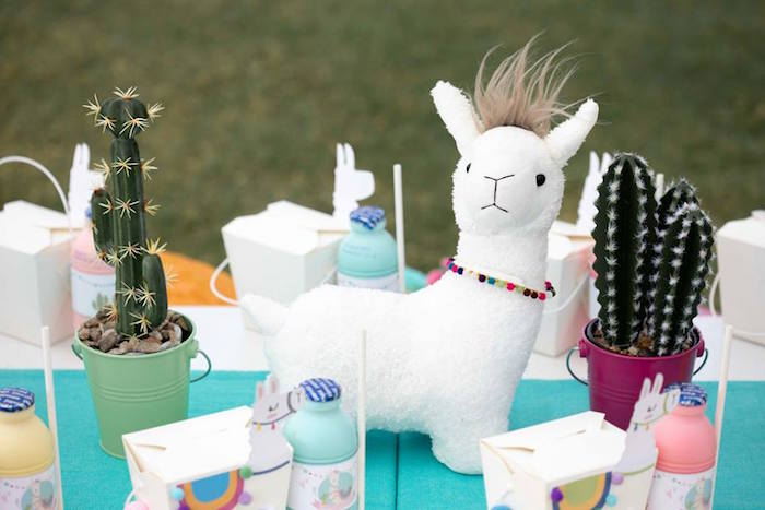 Plush Llama + Cactus Plant Centerpieces from a Colorful Llama and Cactus Birthday Party on Kara's Party Ideas | KarasPartyIdeas.com (21)
