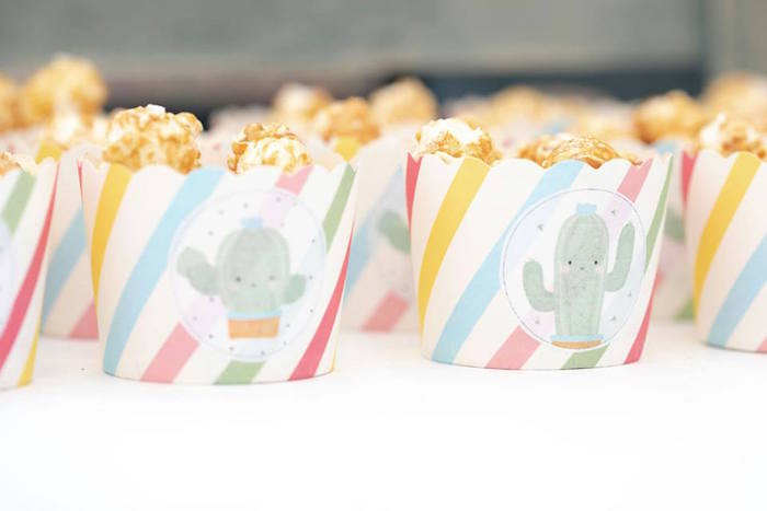 Cactus-printed Popcorn Cups from a Colorful Llama and Cactus Birthday Party on Kara's Party Ideas | KarasPartyIdeas.com (20)