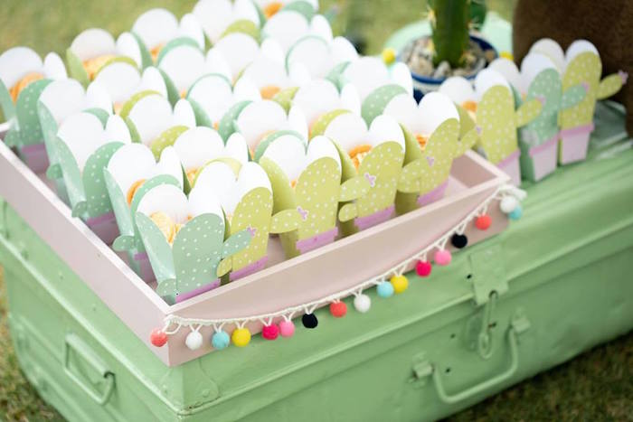 Cactus Snack Boxes from a Colorful Llama and Cactus Birthday Party on Kara's Party Ideas | KarasPartyIdeas.com (16)