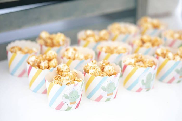 Cactus-printed Popcorn Cups from a Colorful Llama and Cactus Birthday Party on Kara's Party Ideas | KarasPartyIdeas.com (15)