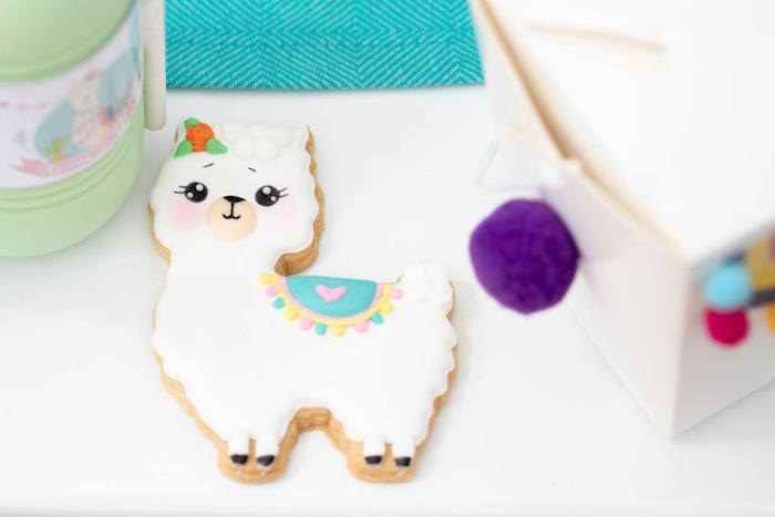 Llama Cookie from a Colorful Llama and Cactus Birthday Party on Kara's Party Ideas | KarasPartyIdeas.com (14)