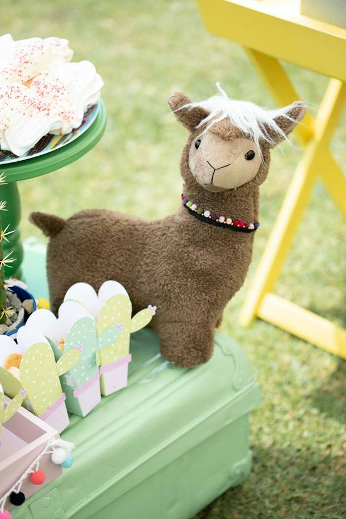 Plush Llama from a Colorful Llama and Cactus Birthday Party on Kara's Party Ideas | KarasPartyIdeas.com (12)