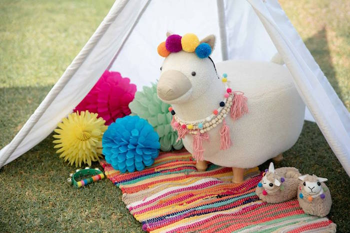 Llama Lounge from a Colorful Llama and Cactus Birthday Party on Kara's Party Ideas | KarasPartyIdeas.com (11)