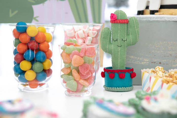 Felt Cactus + Candy Dishes from a Colorful Llama and Cactus Birthday Party on Kara's Party Ideas | KarasPartyIdeas.com (9)